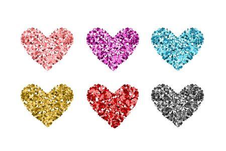 Stellen Sie Glitzerfarbenherzen ein. Gold, Blau, Rot, Silber, Rosa Pailletten-Symbole auf weißem Hintergrund. Symbole für Valentinstag, Hochzeitskarten, Einladung, Mode, Ornamente, Luxusdesign. Vektor-Illustration.