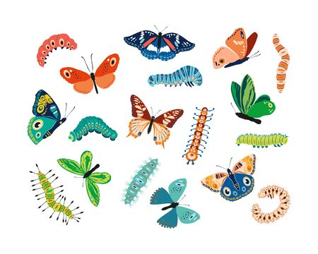 Set spring and summer colorful butterflies and caterpillars. Different cute silhouettes on white background. For festive card, logo, children, pattern, tattoo, decorative, concept. Vector illustration Stock Illustratie