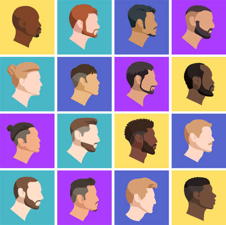 Set vector illustration of mens heads in profile of various nationality european and asian and also afro-american in cartoon style on color background.
