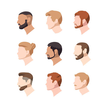 Set of illustrations of european nationality male profiles. Vector portraits of men in a flat style. Blond and brunet and also redhead avatars on a white background.