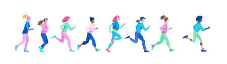 Set of young healthy women on jogging. Vector illustration in cartoon style of running blond and brunet girls of various nationalities. African, Asian and European women run in sports clothes. Illustration