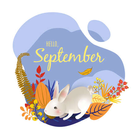 Monthly calendar page with text Hello September and cute character rabbit. Colorful autumn card or background with white hear, yellow falling leaves - grass and berries. Vector illustration.