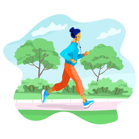 Vector illustration of a beautiful young girl running through a Park, square. 向量圖像