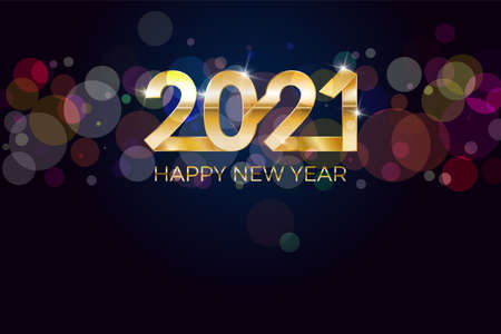2021, Happy New Year. Banner or invitation, party poster gold glittering stars confetti glitter decoration. Greeting card with silver inscription Happy New Year 2021. Vector Illustration. Vetores