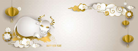 Happy Chinese New Year 2021 of ox. Banner: white and gold bull or cow, cloud, lantern, flowers on light background. For cover social network, card, poster, invitation. Paper style. Vector illustration Illusztráció