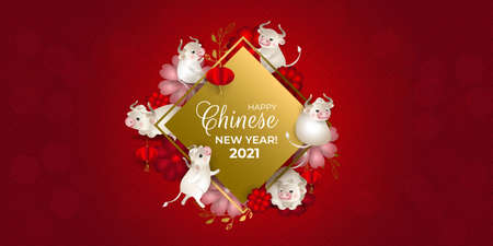 Happy Chinese New Year 2021. Six bulls on golden signboard. White oxes, red lanterns, red and pink flowers, dots, red background. For greeting card, invitations, poster, banner. Vector illustration. Çizim