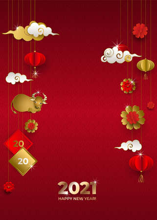 Happy Chinese New Year 2021 of ox. Banner with hanging gold bull, clouds, lanterns, flowers on red background. Asian patterns. For invitations, poster, greeting card. Paper style. Vector illustration.