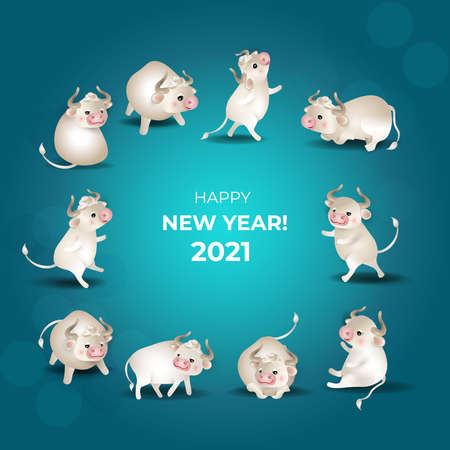 Chinese New Year 2021. Set of white oxes. Cute bulls in different poses on turquoise background. For holiday greeting card, invitations, poster, banner, any illustration. Vector illustration. Çizim