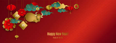 Happy Chinese New Year 2021 of ox. Banner with hanging gold bull, clouds, lanterns, flowers on red background. For cover social network, cards, poster, invitation. Paper style. Vector illustration.