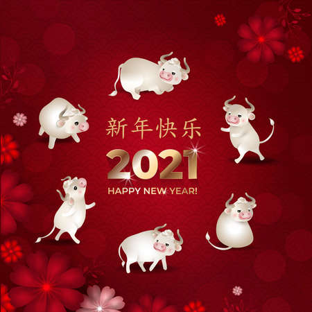 Happy Chinese New Year 2021. Set of cute white oxes. Bulls in different poses in circle with flowers on red background. Asian patterns. Chinese characters: Happy New Year. Vector illustration.