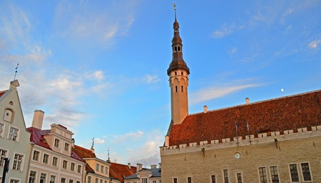middleages: Old town and red roofs of Tallinn
