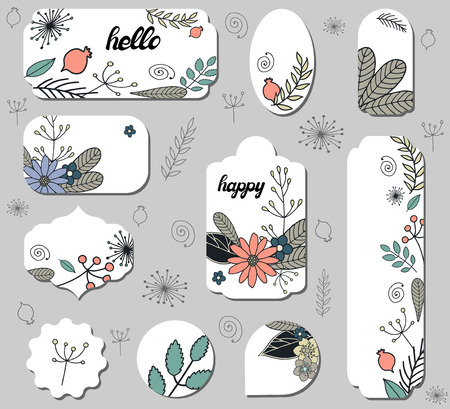 Set of different labels with cute doodle flowers. Collection with different floral paper labels for announcements. Round, square, rectangular shapes. Template for design, cards, invitations and decor.