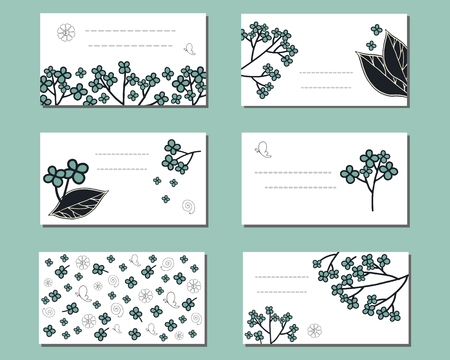 Floral templates with cute bunches of doodle flowers. For design, announcements, greeting and business cards, invitations and advertisement. Ilustração