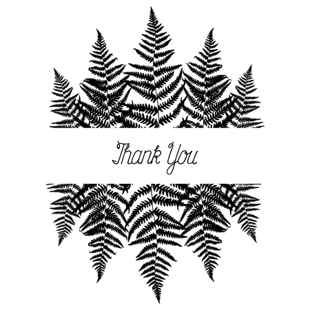 Vector frame with fern leaves. Botanical illustration in black and white colours. Blank rectangle template for design, decoration, poster, card, invitation, announcements, advertisement. Thank You. 向量圖像