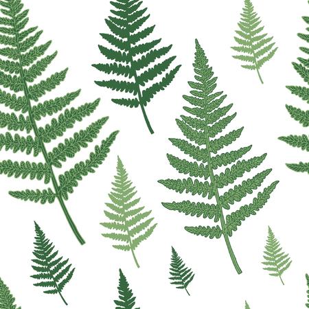 Nahtloses Blumenmuster mit Farn. Vektorsilhouetten in grünen Farben. Endlose Textur für Modedesign, Textilien, Hintergründe und Drucke. Vektorgrafik