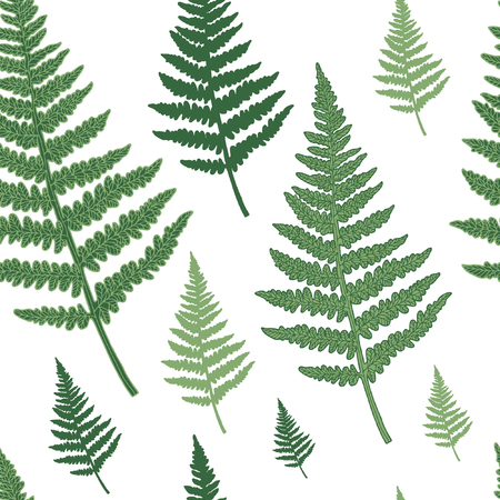Seamless floral pattern with fern. Vector silhouettes in green colours. Endless texture for fashion design, textile, backgrounds and prints. 向量圖像