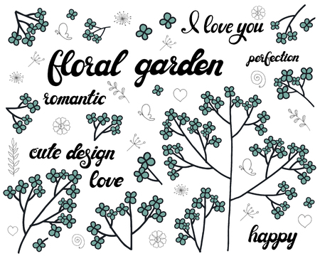 Vector set of floral branch. Doodle elements with cute blue flowers. Design for romantic greeting card or invitation background with lettering. Illustration