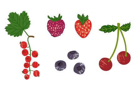 Currant, strawberry, raspberry, cherry and blueberry icon set. Summer berry for vegan kitchen in handdrawn flat style. Organic healthy food for menu, market design. Colorful, texture and fun berries.