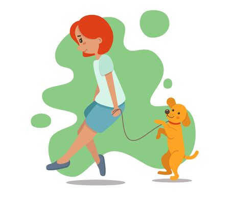 Vector illustration of a girl walking with a dog. Young woman character with pet in a flat style. Cute little puppy retriever, gold labrador. Isolated on white background. Standard-Bild - 133318886