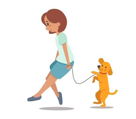 Vector illustration of a girl walking with a dog. Young woman character with pet in a flat style. Cute little puppy retriever, gold labrador. Scent isolated on white background.