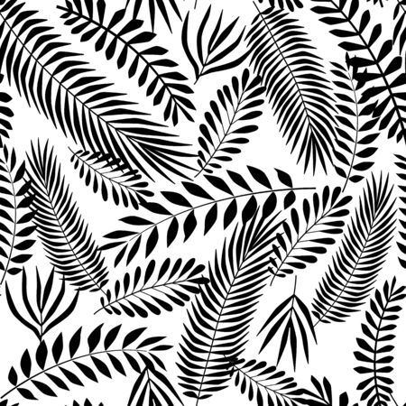 tropical leaves seamless pattern. Endless texture with palm leaf. Black on white jungle background for textile print, fabrics, wrapping paper, season design, card, decoration, invitation. Vectores