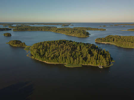 Sea and islands, Finnish sea landscape, Porvoo Photo A shot from a drone. . High quality photo