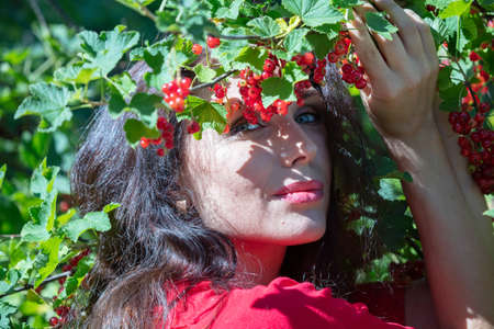 brunette with long hair, green eyes, in a red dress, red berries, currants. High quality photo Zdjęcie Seryjne