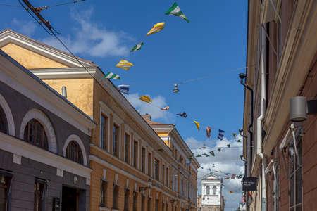 Helsinki, Uusimaa, Finland. July 6. 2020. City center streets. High quality photo
