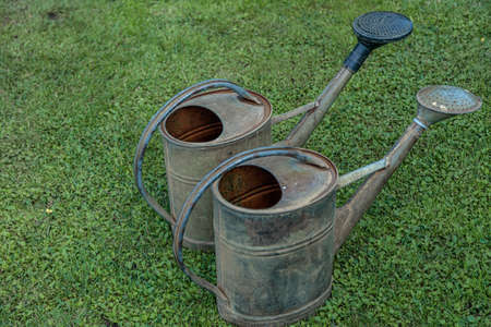 The old watering can is prepared for watering the crop. Country atmosphere. High quality photo