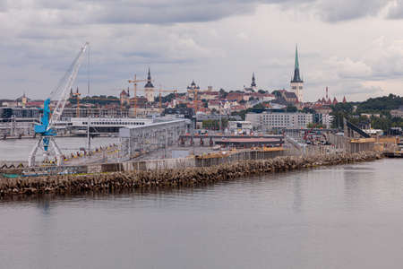 Tallinn, Harju County, Estonia, 02 July 2020 Panorama of the city, view from the ferry entering the port. High quality photo