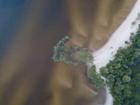 Coastline, sandy beach, dunes and shallows Lake Peipsi, Estonia, drone photo. High quality photo Stock Photo