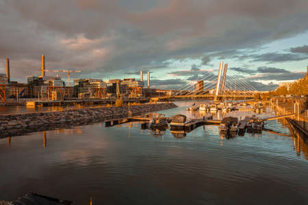 Helsinki, Uusimaa, Finland October 13, 2020 View of the canal and yachts. Autumn evening. High quality photo 新聞圖片