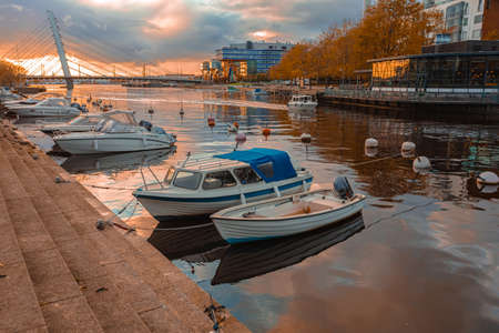 Helsinki, Uusimaa, Finland October 13, 2020 View of the water canal and boats Autumn evening. High quality photo 新聞圖片