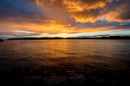 Sunset over the Gulf of Finland. Scandinavian nature. High quality photo