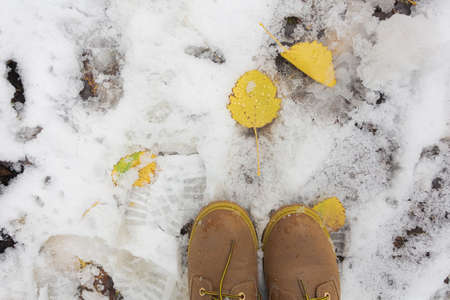 Fallen leaves, in the snow, brown shoes. Cropped photo. Concept goodbye autumn, winter has come. High quality photo