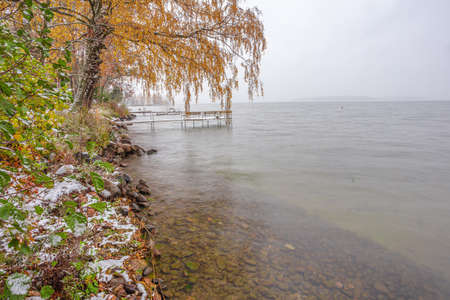 Autumn, yellow trees, a pier for boats, snow, cloudy day at the sea. Scandinavian nature. Finland. High quality photo Stok Fotoğraf