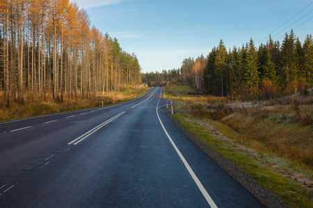 Nice track without cars. in Finland. Good visibility on the road. Autumn day. High quality photo Stockfoto