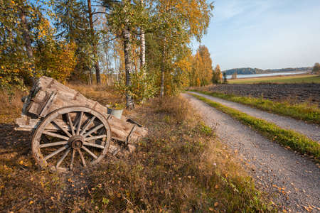 On a country road, an old cart. Autumn sunny day. High quality photo