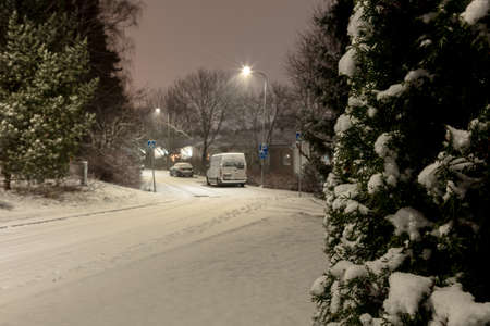 Houses in the suburbs. Winter in Finland Street and houses covered with beautiful snow Evening photo. High quality photo