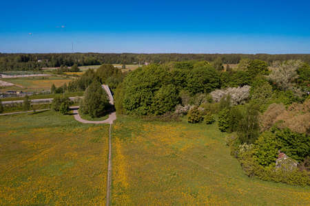 Espoo, Finland 30 May 2021 Urban area in the distance. Path on the dandelion field Top view. There is room for text. Photo from the drone.