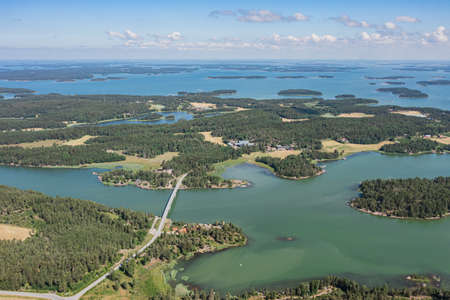 View of the sea and the bridge over the archipelago islands in Turku. Seascape on a summer sunny day. the view from the top from the drone.