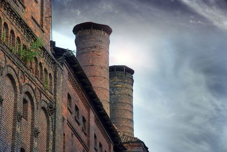old factory building German Königsberg Kaliningrad dark sky brick photo