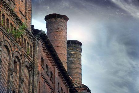 old factory building German Königsberg Kaliningrad dark sky brick
