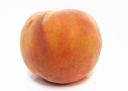 peach on a white background, yellow juicy fruit big red summer fruit vegetables meat meal breakfast