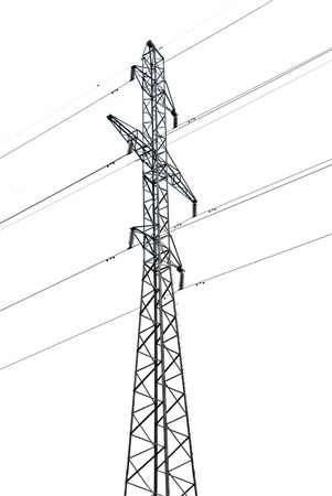 column of a transmission line on a white background with a high iron wire large slender