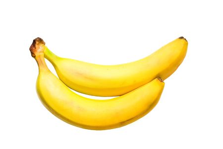 Two ripe yellow banana tasty on a white background ligament