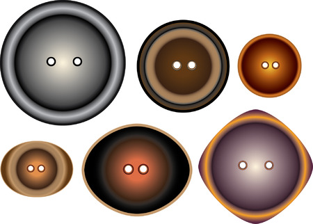 Buttons set of six pieces for the coat of many colors isolated on white background Stock Vector - 6122425