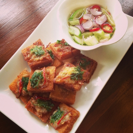 foodies: Thai snack Fried bread topped with minced pork  Stock Photo