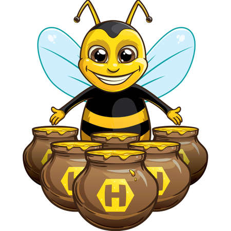 Funny bee with pot of honey Illustration