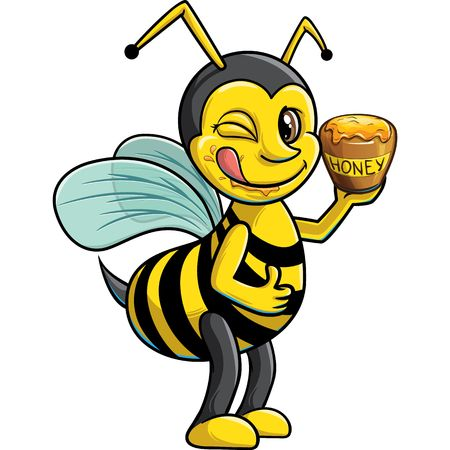 Winking bee with pot of honey Illustration